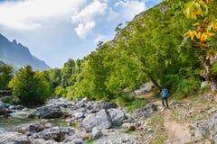 Turista que camina en el sendero a lo largo del río en las montañas imagen de archivo libre de regalías
