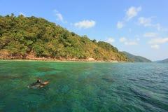 Turista que mergulha o mergulho coral parque nacional no mar verde de superfície da água, MU Ko Surin, Tailândia foto de stock royalty free
