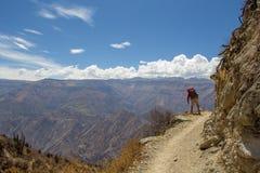 Turista que mira al valle de los rastros de montaña Imágenes de archivo libres de regalías