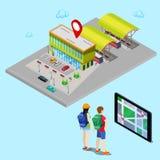 Turista que procura a estação de ônibus com ajuda da navegação móvel na tabuleta Cidade isométrica Fotografia de Stock Royalty Free