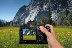 Turista que toma uma fotografia da paisagem Fotos de Stock Royalty Free