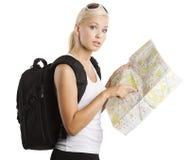 Turista rubio joven Fotografía de archivo libre de regalías