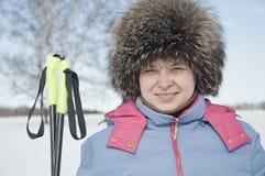 Turista skier3 da mulher Imagem de Stock Royalty Free