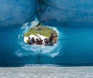 Turista visto através do túnel do gelo Imagem de Stock Royalty Free