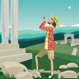 Turista y vistas libre illustration