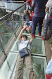 Turistas chineses na montanha de Tianmen Fotografia de Stock Royalty Free