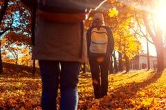 Turistas com trouxas que andam na m?e da floresta do outono e sua filha adulta que viaja junto imagem de stock