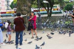 Turistas con las palomas, París Foto de archivo