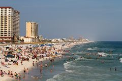 Turistas de la playa de Pensacola Fotografía de archivo libre de regalías