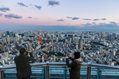 Turistas de la torre de Tokio imagen de archivo libre de regalías