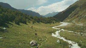 Turistas de la visión superior que viajan en montaña Turistas que caminan a lo largo del río de la montaña almacen de video