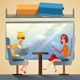 Turistas de los pares que viajan en tren junto Enseñe al grupo de estudiantes que va en viaje por carretera de las vacaciones de  ilustración del vector