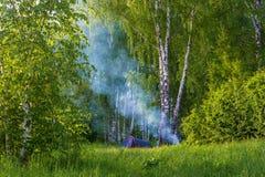 Turistas del estacionamiento en el bosque del abedul y el humo azul de un fuego Foto de archivo