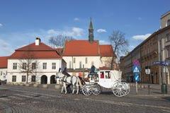 Turistas del montar a caballo en carros Imagenes de archivo