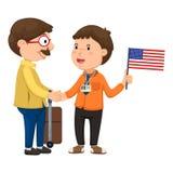 Turistas e vetor do guia Imagem de Stock Royalty Free