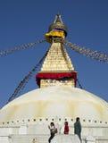 Turistas em Boudhanath Stupa Fotos de Stock
