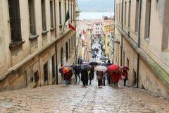 Turistas em Portoferraio, Itália Imagem de Stock