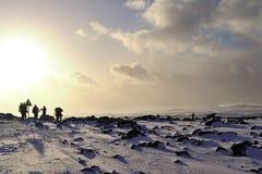 Turistas en Islandia cerca del mar fotografía de archivo