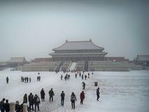 Turistas en la ciudad Prohibida en invierno Imagenes de archivo