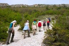 Turistas en la excursión fotografía de archivo libre de regalías
