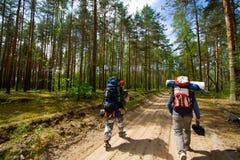 Turistas en la madera Foto de archivo libre de regalías