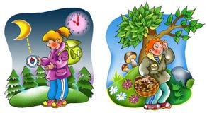 Turistas en las maderas ilustración del vector