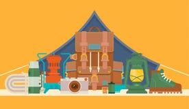 Turistas equipo y sistema del vector de los accesorios del viaje Bosque que acampa y que camina elementos planos Equipo para cami stock de ilustración