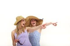 Turistas Excited que apontam ao sightseeing imagens de stock royalty free