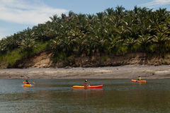 Turistas kayaking en la playa y Portete de Mompiche Imagenes de archivo