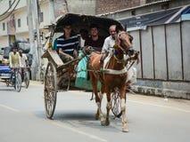 Turistas levando do carro do cavalo na rua em Amritsar, Índia Imagem de Stock
