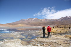Turistas na lagoa com os flamingos em Uyuni, Bolívia Fotos de Stock Royalty Free