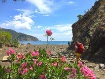 Turistas na maneira de Lycian fotografia de stock royalty free