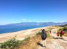 Turistas na maneira de Lycian fotografia de stock