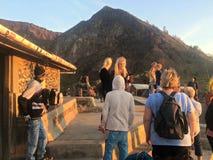 Turistas na montagem Batur fotografia de stock