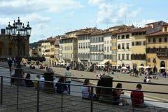 Turistas na praça de Pitti em Florença - Itália Fotos de Stock Royalty Free