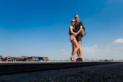 Turistas no molhe Penang da pomba Fotografia de Stock