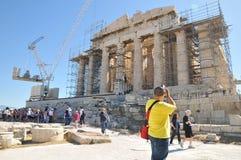 Turistas no Partenon Imagem de Stock