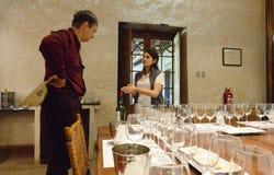 Turistas no salão para a degustação de vinhos na adega de Viu Manent Imagens de Stock Royalty Free