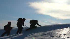Turistas no trabalho do inverno junto como a equipe que anda através da neve que supera dificuldades Três alpenists escalam a cor video estoque