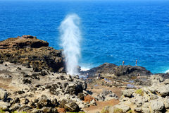 Turistas que admiran la sopladura de Nakalele en la costa costa de Maui Un jet del agua y del aire se fuerza violentamente hacia  Foto de archivo libre de regalías