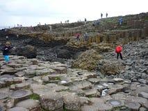 Turistas que andam em colunas do basalto da calçada do gigante Fotos de Stock Royalty Free