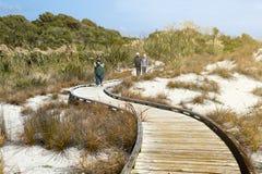 Turistas que andam na passagem de madeira pela praia em Tauparikaka Marine Reserve, Haast, Nova Zelândia fotos de stock