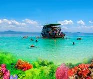 Turistas que bucean en el mar de Andaman en la isla de Ko Kradan, Tailandia imágenes de archivo libres de regalías