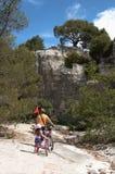 Turistas que caminan con los bycicles en itinerario turístico de Forest Park nacional Foto de archivo libre de regalías