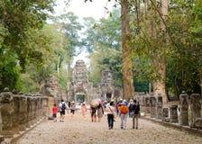 Turistas que caminan en Angkor Fotografía de archivo