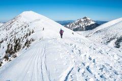 Turistas que caminan a lo largo del canto de montañas nevosas Foto de archivo