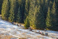 Turistas que dan un paseo en un día soleado en las montañas de Tatra, Polonia Foto de archivo libre de regalías