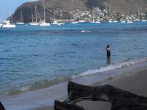 Turistas que gozan de una playa idílica en el Caribe metrajes