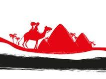 Turistas que montam o camelo ilustração royalty free