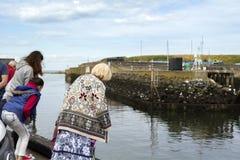 Turistas que olham e que alimentam selos em Eyemouth em Escócia 07 08 2015 Fotos de Stock